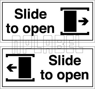 140041ML Slide To Open Door Sign Metal Labels