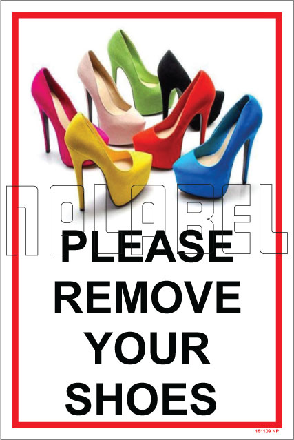 151109 Remove Shoes Sign Name Plate & Signs