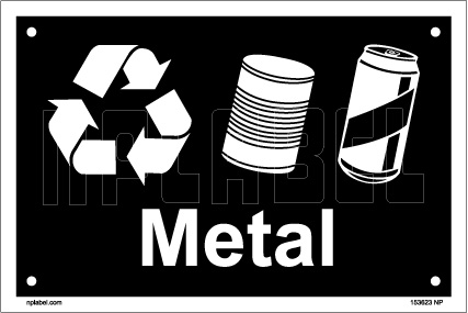 153623 Metal Waste Dustbin Label