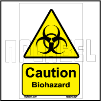 160015 CAUTION Biohazard Signs Stickers