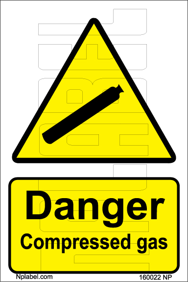 160022 DANGER Compress Gas signs Stickers