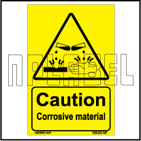 160023 CAUTION Corrosive Material Signs Stickers