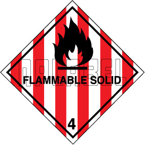 160028 Flammable Solid Signs Stickers
