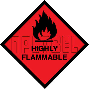 160037 HIGHLY Flammable Signs Stickers