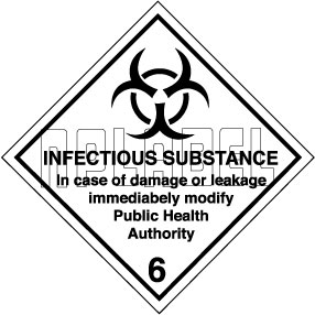 160038 INFECTIOUS SUBSTANCE Sign Stickers