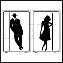 162517ML Male - Female Toilets Sign Name Plate SET