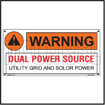 162520ML Customize Warning Dual Power Source Metal Labels