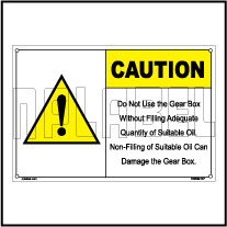 162539 Gear Box Caution Sticker