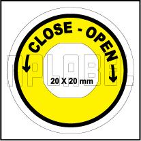162558CO - Close-Open Control Arrow Label