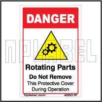 420023 Rotating Parts Warning Sticker