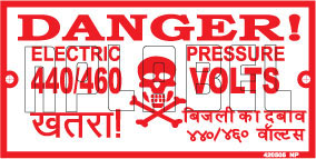 420505 Danger 440/460 Volts Stickers