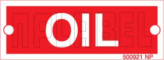 500921R Oil Metal Labels
