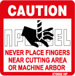 570562 Never Place Fingers in Cutting Area Labels