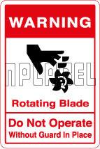 570568 Rotating Blade Warning Sticker
