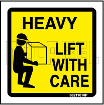 582110 Heavy - Lift With Care Stickers & Labels