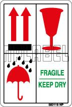 582119 Fragile/Keep Dry Shipping Stickers & Labels