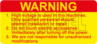 590928 High Voltage Warning Stickers & Labels