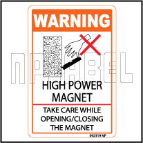 592319 High Power Magnet Caution Sticker & Labels