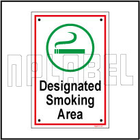 592513 Designated Smoking Area Label & Signs