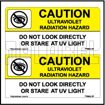 770602ML Warning - UV Radiation Hazards Metal Labels