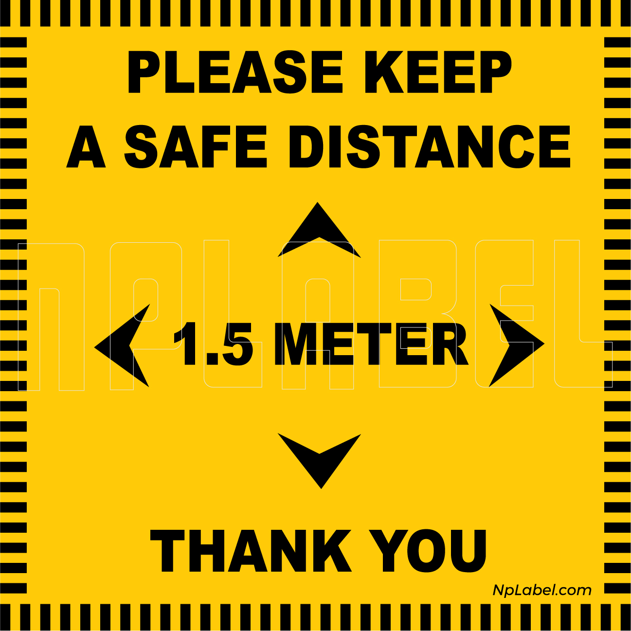 CD1966 Keep 1.5 Meter Distance Floor Sticker