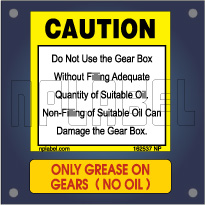 Caution - Warning Labels for Gear Box