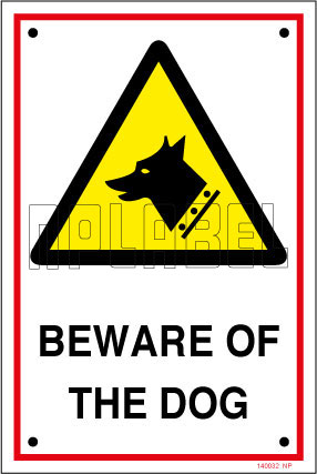 140032 Beware Of The Dog Labels & Signs