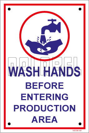 140796 Wash Hands Instructions Name Plates & Signs