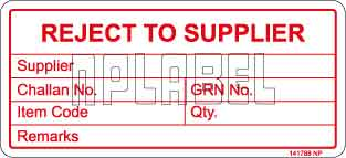 141788 Reject to Supplier Stickers & Labels