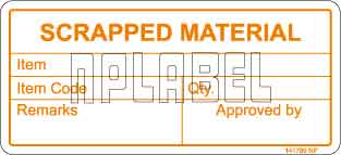 141790 Scrapped Material Stickers & Labels
