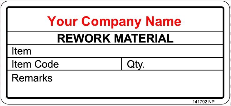 141792 Rework Material Sticker