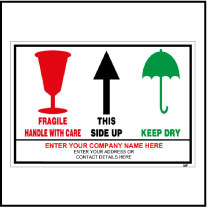 141847 Handle With Care-Fragile Sticker