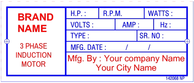 142068 Induction Motor Custom Labels