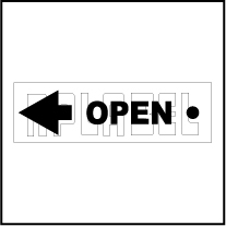 142836LW - OPEN Arrow Label - Left