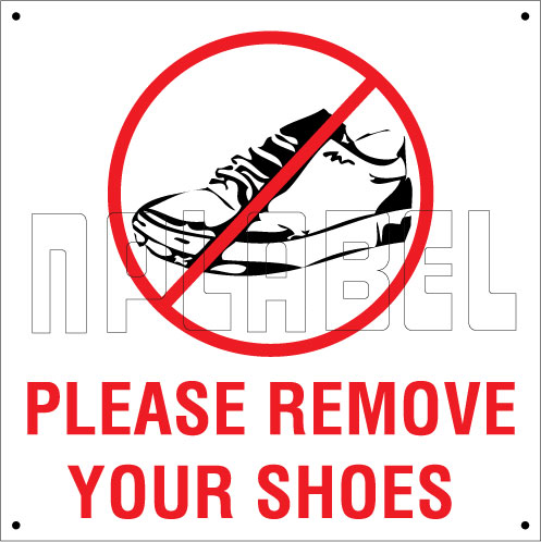 151111 Remove Your Shoes Sign Sticker