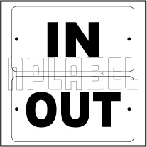 152453 IN/OUT Door Sign Sticker Label