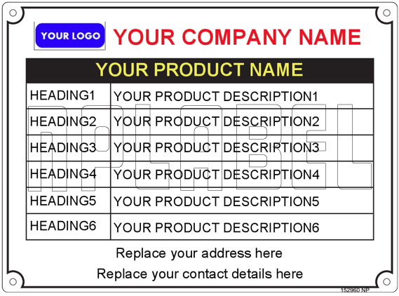 152960 Customize Metal Labels