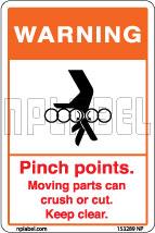 153289 Moving Parts Caution Sticker Labels & Sign
