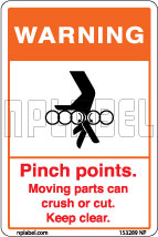 153289ML Moving Parts Caution Metal Labels