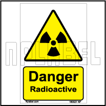 160021 DANGER Radioactive Signs Stickers
