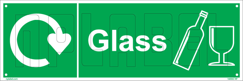 160065 Glass Waste Recycle Dustbin Label
