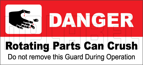 160127 DANGER Rotating Parts Can Crush Sticker