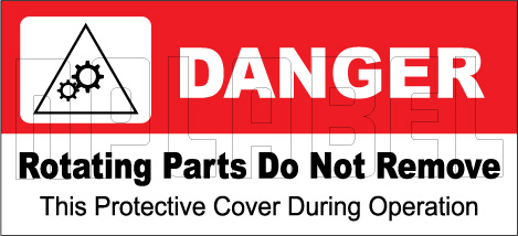160128 DANGER Rotating Parts Do Not Remove Sticker
