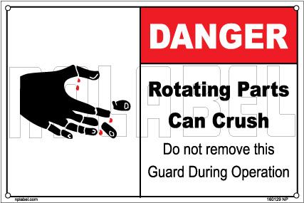 160129 DANGER Rotating Parts Can Crush Labels