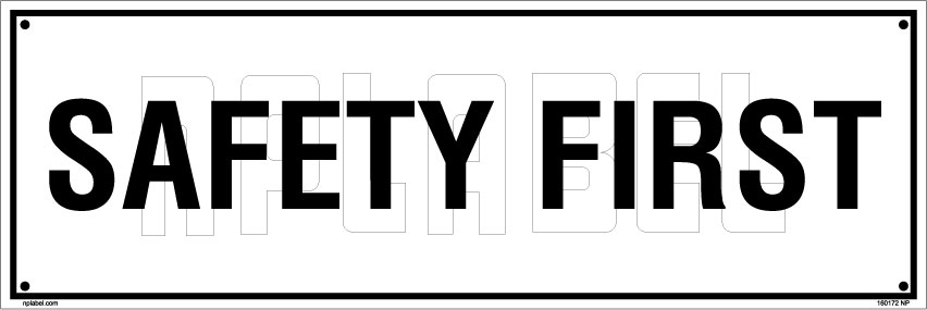 160172 Safety First Name Plate