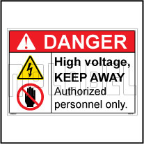 160195 High Voltage & Authorized Person Labels & Signs
