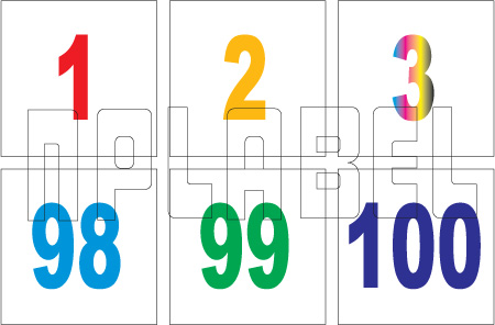 162578  Serial Number 1 to 100 Sticker SET