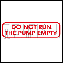 420017VP Do Not Run The Pump Empty Instructions