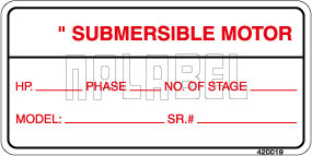 420019 Instruction for submersible motor Labels