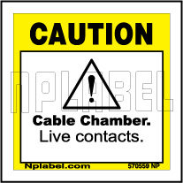 570559 Caution - Cable Chamber Labels & Stickers